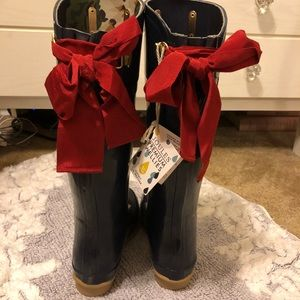 Joules French Navy Red Bow Wellies Rain Boots 6